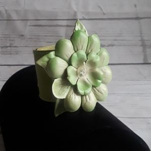 Jewelry - HAND MADE: Leather Lotus Flower Bracelet/Pin